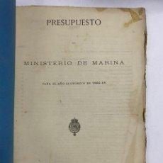 Militaria: PRESUPUESTO GENERAL DEL MINISTERIO DE MARINA PARA EL AÑO ECONOMICO DE 1868-69. PAGS: 97. Lote 288449628