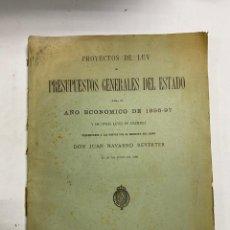 Militaria: PRESUPUESTO GENERALES DEL ESTADO PARA EL AÑO ECONOMICO DE 1896-97. JUAN NAVARRO. PAGS: 228. Lote 288450043