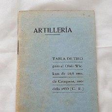 Militaria: ARTILLERIA TABLA DE TIRO OBUS WICKERS SEGOVIA 1936. Lote 289851388