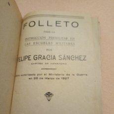Militaria: 1935 GRANADA FOLLETO PARA LA INSTRUCCIÓN PREMILITAR. FELIPE GARCÍA SANCHEZ. Lote 291939223