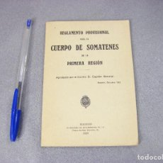 Militaria: REGLAMENTO PARA EL CUERPO DE SOMATENES DE LA PRIMERA REGIÓN MILITAR. 1923. UNIFORMIDAD. INSIGNIAS. Lote 293828088