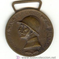 Militaria: MEDALLA ITALIA 1915 ACUÑADA CON EL BRONCE DE LOS CAÑONES ENEMIGOS. Lote 25209277