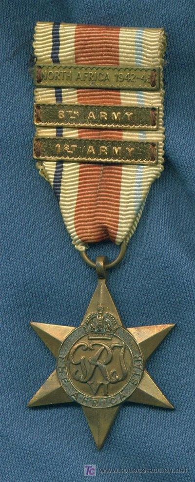 United Kingdom  The Africa Star  Con pasadores North Africa 1942-1943, 8th  Army y 1st Army