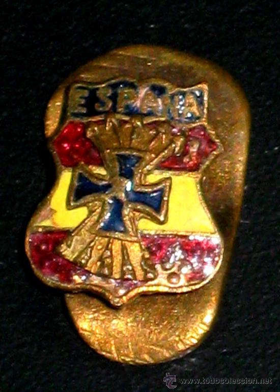 ANTIGUA MEDALLA MINIATURA ESMALTADA DE LA DIVISION AZUL - TAL COMO SE VE EN LAS FOTOS - MUY RARA (Militar - Medallas Españolas Originales )