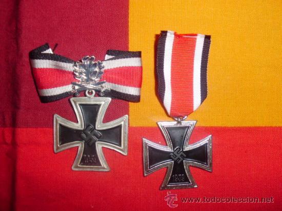 OFERTA!!!!!! LOTE DE CRUZ DE HIERRO 2ª CLASE + CRUZ DE CABALLERO CON HOJAS DE ROBLE Y ESPADAS (Militar - Reproducciones y Réplicas de Medallas )