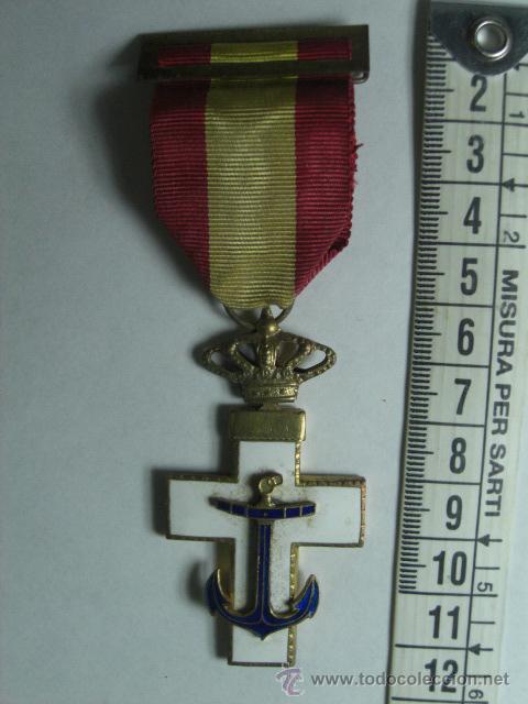 CRUZ DEL MÉRITO NAVAL. DISTINTIVO BLANCO. 1ª ÉPOCA DE JUAN CARLOS I. (Militar - Medallas Españolas Originales )