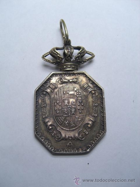 JUSTICIA. MEDALLA VENERA PARA CUELLO. ÉPOCA ISABEL II O ALFONSO XII (Militar - Medallas Españolas Originales )