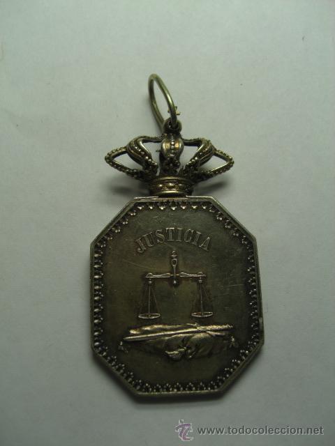 Militaria: Justicia. Medalla venera para cuello. Época Isabel II o Alfonso XII - Foto 4 - 26942274