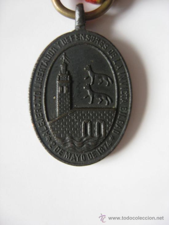 Militaria: MEDALLA DE LA DEFENSA DE BILBAO. GUERRAS CARLISTAS . 2 DE MAYO DE 1874 - Foto 2 - 27586356