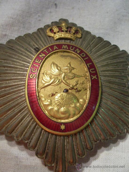 PLACA REAL ACADEMIA HISPANO AMERICANA DE CIENCIAS, ARTES Y LETRAS DE CADIZ. ÉPOCA DE ALFONSO XIII. (Militar - Medallas Españolas Originales )