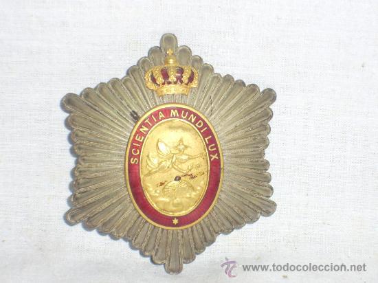 Militaria: Placa Real Academia Hispano Americana de Ciencias, Artes y Letras de Cadiz. Época de Alfonso XIII. - Foto 6 - 27107098