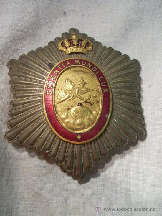 Militaria: Placa Real Academia Hispano Americana de Ciencias, Artes y Letras de Cadiz. Época de Alfonso XIII. - Foto 2 - 27107098