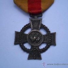 Militaria: CRUZ DESCONOCIDA QUIZAS CARLISTA, MEDALLA DE PLATA CON SU CINTA ORIGINAL CON CRUZ ROJA-TODO ORIGINAL. Lote 29442985