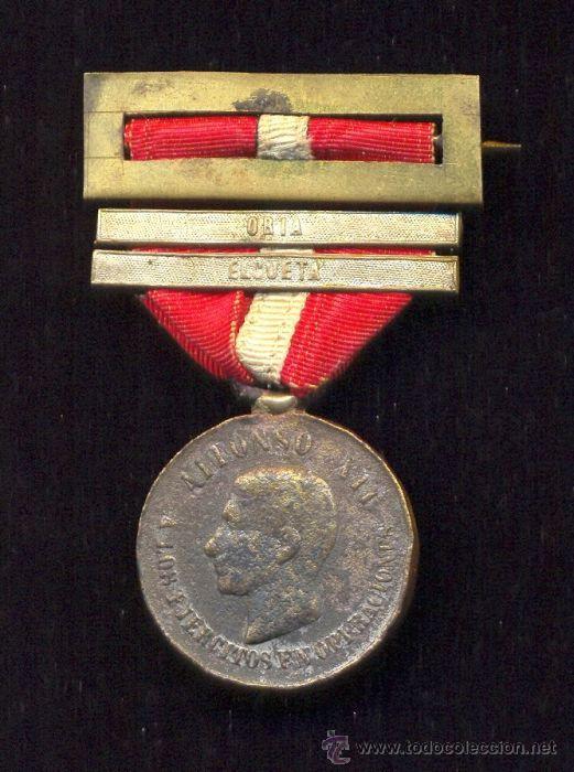 ESPAÑA CA 1880 - MEDALLA DE ALFONSO XII - TAMAÑO PRINCESA - 2 PASADORES: 'ORIA' Y 'ELGUETA' (Militar - Medallas Españolas Originales )