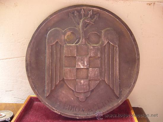MEDALLON DEL FRENTE DE JUVENTUDES MADRID 1945 DIAMETRO 19,5 CM (Militar - Medallas Españolas Originales )