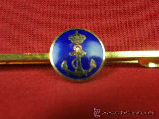 Militaria: Pasador de corbata esmaltado azul ancla bajo corona real 6 cm - Foto 2 - 96896883
