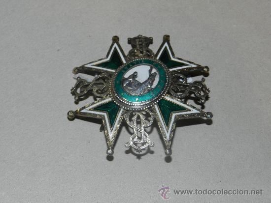 Militaria: MEDALLA DE PECHO - ORDEN DE SAN LAZARO ( PLATA Y ESMALTE ) 7 X 7 CM, - Foto 3 - 34442246