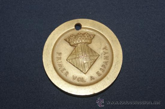 Militaria: RARA MEDALLA DE BARCELONA 11 FEBRER 1910, PRIMER VOL A ESPAÑA. PRIMER VUELO A ESPAÑA. - Foto 2 - 35068234