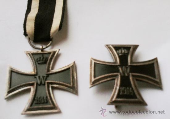 I GUERRA MUNDIAL, CRUZ DE HIERRO DE 1ª CLASE EN PLATA Y CRUZ DE HIERRO DE 2ª CLASE,PRE III REICH (Militar - Medallas Internacionales Originales)
