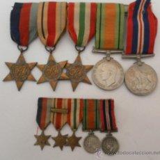 Militaria: CONJUNTO DE CINCO CONDECORACIONES INGLESAS CON SUS MINIATURAS. II GUERRA MUNDIAL. Lote 35346732