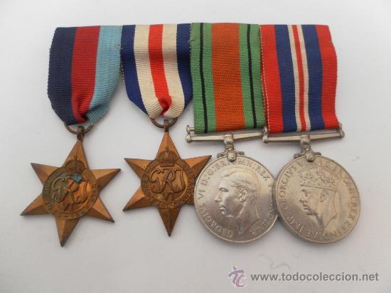CONJUNTO DE CUATRO CONDECORACIONES INGLESAS. II GUERRA MUNDIAL. (Militar - Medallas Internacionales Originales)