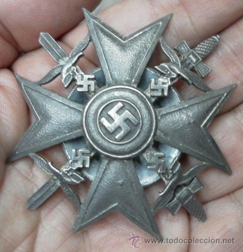 ALEMANIA. CRUZ DE ESPAÑA, CON ESPADAS. ROSCA TRASERA. (Militar - Medallas Internacionales Originales)