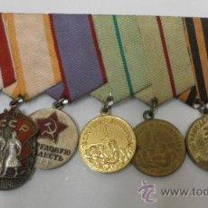 Militaria: UNIÓN SOVIÉTICA. PASADOR CON 7 CONDECORACIONES. URSS.. Lote 35701255