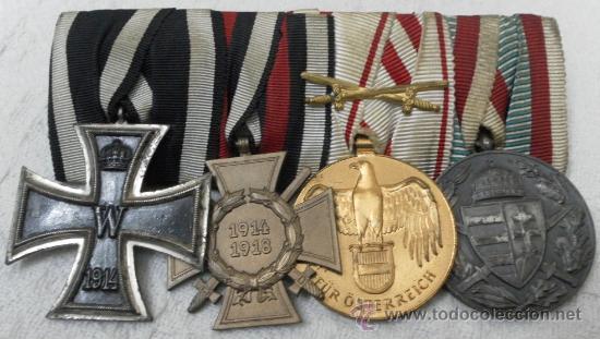 ALEMANIA. I GUERRA MUNDIAL. PASADOR CON CUATRO CONDECORACIONES (Militar - Medallas Internacionales Originales)