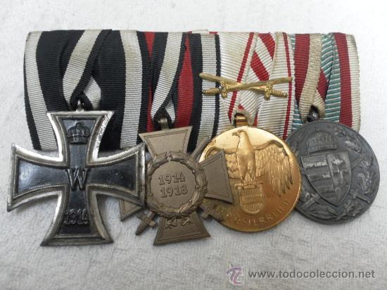 Militaria: Alemania. I Guerra Mundial. Pasador con cuatro condecoraciones - Foto 2 - 35948788