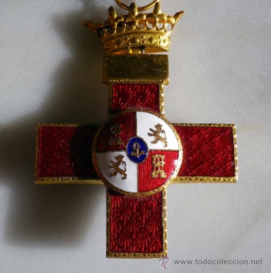 MEDALLA ESPAÑOLA MILITAR, CRUZ MERITO MILITAR, DISTINTIVO ROJO (Militar - Medallas Españolas Originales )