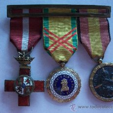 Militaria: GUERRA CIVIL : PASADOR 3 MEDALLAS VETERANO : MERITO , SUFRIMIENTOS PATRIA Y CAMPAÑA .. Lote 36373024