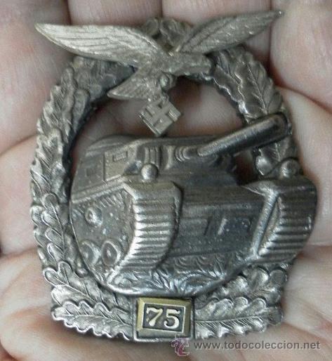 ALEMANIA. PLACA DE TANQUES. CON NÚMERO 75. II GUERRA MUNDIAL. BUENA REPRODUCCIÓN ANTIGUA. (Militar - Reproducciones y Réplicas de Medallas )