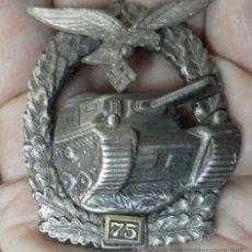 Militaria: ALEMANIA. PLACA DE TANQUES. CON NÚMERO 75. II GUERRA MUNDIAL. BUENA REPRODUCCIÓN ANTIGUA. . Lote 36481755