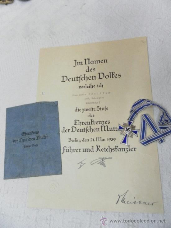 Militaria: Alemania. Cruz de la Madre. Con diploma de concesión y sobre. II Guerra Mundial - Foto 2 - 36481089