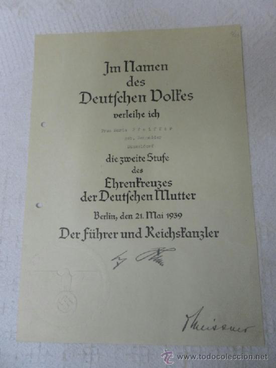 Militaria: Alemania. Cruz de la Madre. Con diploma de concesión y sobre. II Guerra Mundial - Foto 3 - 36481089