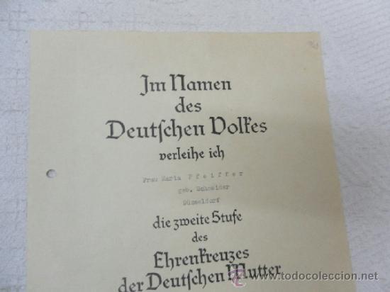 Militaria: Alemania. Cruz de la Madre. Con diploma de concesión y sobre. II Guerra Mundial - Foto 4 - 36481089