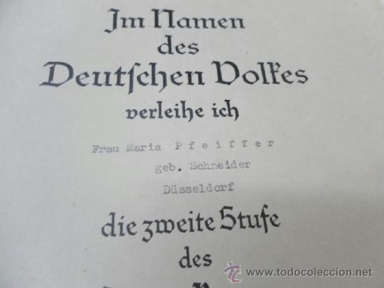 Militaria: Alemania. Cruz de la Madre. Con diploma de concesión y sobre. II Guerra Mundial - Foto 5 - 36481089