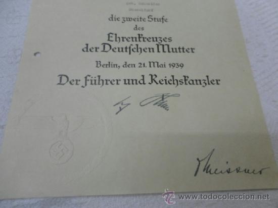 Militaria: Alemania. Cruz de la Madre. Con diploma de concesión y sobre. II Guerra Mundial - Foto 6 - 36481089