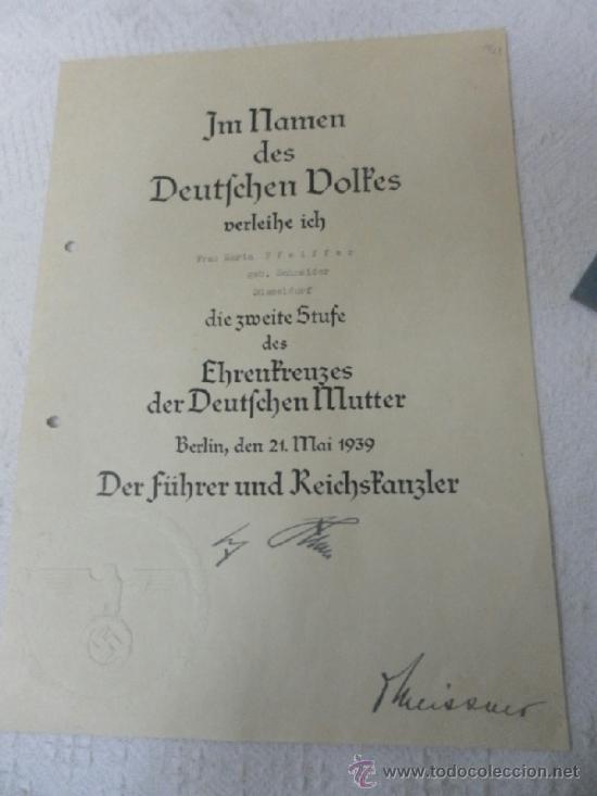 Militaria: Alemania. Cruz de la Madre. Con diploma de concesión y sobre. II Guerra Mundial - Foto 8 - 36481089