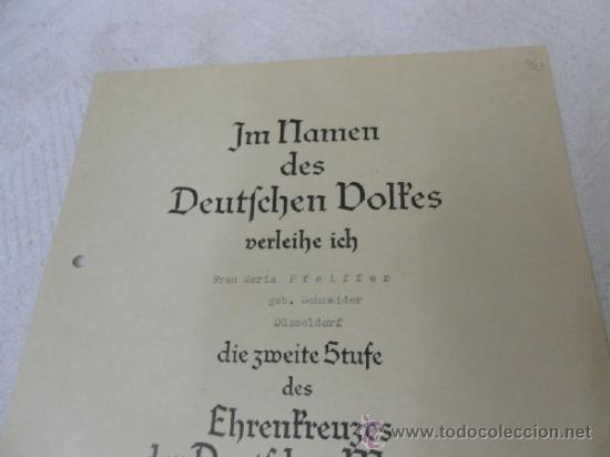 Militaria: Alemania. Cruz de la Madre. Con diploma de concesión y sobre. II Guerra Mundial - Foto 9 - 36481089