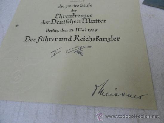 Militaria: Alemania. Cruz de la Madre. Con diploma de concesión y sobre. II Guerra Mundial - Foto 10 - 36481089