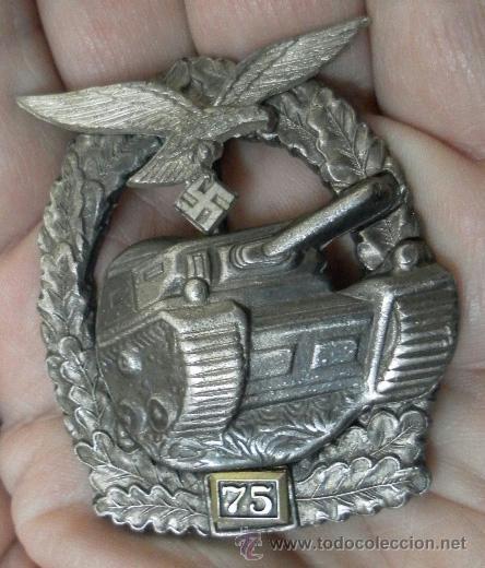 Militaria: Alemania. Placa de tanques. Con número 75. II Guerra Mundial. Buena reproducción antigua. - Foto 2 - 36481755