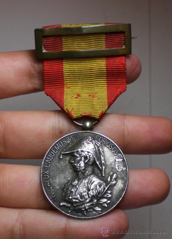 MEDALLA SITIO DE ZARAGOZA 1808-1908, PALAFOX, PLATA (Militar - Medallas Españolas Originales )