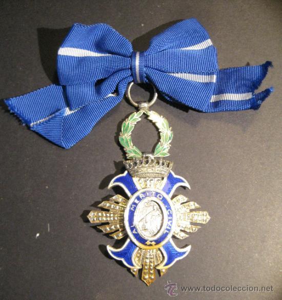 ORDEN AL MERITO CIVIL. PARA DAMAS. PLATA Y ESMALTES. 7,5 X 5 CM CON EL LAUREL (SIN CONTAR ANILLA) (Militar - Medallas Españolas Originales )