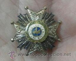 MINIATURA DE SOLAPA DE CHAQUETA. PLACA DE SAN HERMENEGILDO. ÉPOCA DE ALFONSO XIII (Militar - Medallas Españolas Originales )