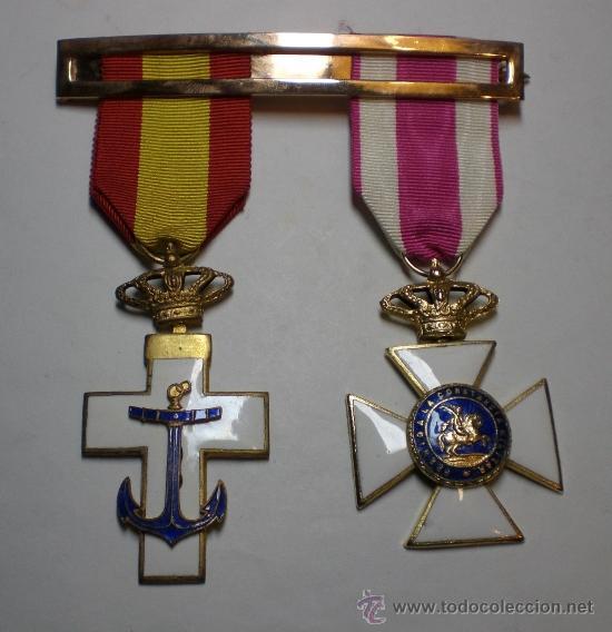 CRUZ AL MERITO MILITAR + CRUZ A LA CONSTANCIA MILITAR (CON ESMALTES AL FUEGO) (Militar - Medallas Españolas Originales )
