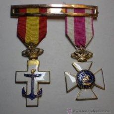 Militaria: CRUZ AL MERITO MILITAR + CRUZ A LA CONSTANCIA MILITAR (CON ESMALTES AL FUEGO). Lote 37379369