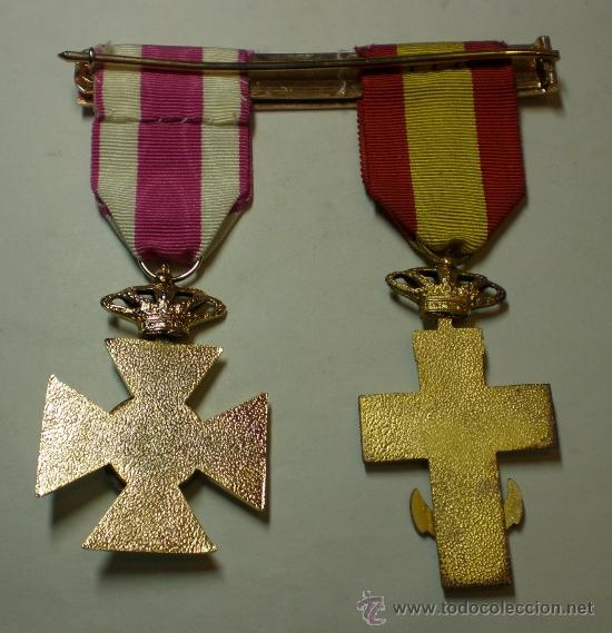 Militaria: Cruz al Merito Militar + Cruz a la Constancia Militar (con esmaltes al fuego) - Foto 2 - 37379369