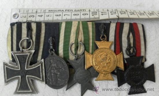 ALEMANIA. PASADOR DE 5 CONDECORACIONES. (Militar - Medallas Internacionales Originales)