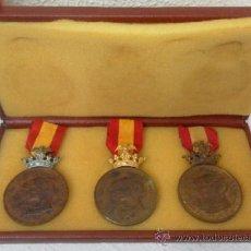 Militaria: TRES MEDALLAS CONDECORACIONES. EXPOSICIÓN UNIVERSAL DE BARCELONA. 1888 CATEGORIA ORO,PLATA Y BRONCE. Lote 37800415